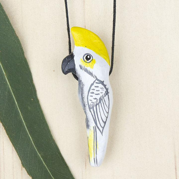 Songbird necklace sulfur crested cockatoo- Shop Fair Trade, Handmade, Ethical Gifts & Jewellery Australia at ONLY JUST.