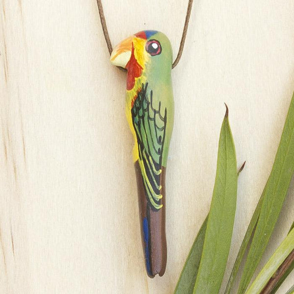 Songbird necklace swift parrot - Shop Fair Trade, Handmade, Ethical Gifts & Jewellery Australia at ONLY JUST.