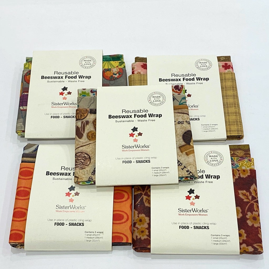 Sisterworks ethically handmade sustainable beeswax food wraps- Fair Trade, Handmade, Ethical Gifts and Homewares at ONLY JUST