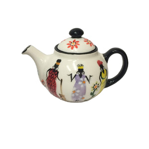 Kapula handmade & handpainted one-cup teapot - white background with african ladies motif - Shop Fair Trade, Handmade, Ethical Gifts and homewares at ONLY JUST