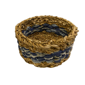 U-Chus Seagrass & Recycled Denim Basket - Small, Bangladesh