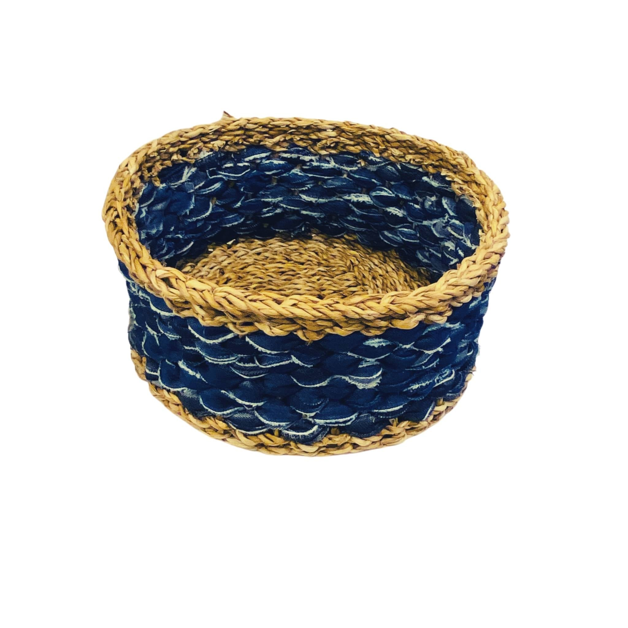 U-Chus Seagrass & Recycled Denim Basket - Large, Bangladesh