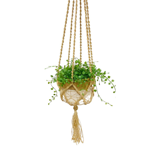Macrame plant hanger displayed with hessian cloth basket and plant