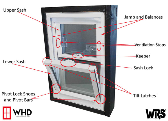 Parts of a Tilting Double or Single Hung Window