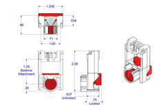 "01-24 Diagram of WRS .625"" x 1.287"" Pivot Lock Shoe with Red Cam"