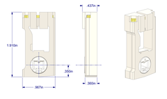"01-50P Diagram of WRS 3/8"" x 1"" Pivot Lock Shoe with White Cam"