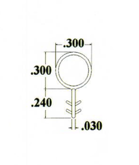 013-39-01 WRS Kerf Mounted Bulb Seal Weather Stripping Diagram