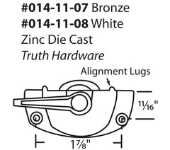 "014-11-08 Truth Hardware EntryGard 1-7/8"" Die-Cast Zinc Sweep Lock Diagram"