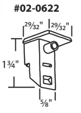 "02-0622 Diagram of WRS 1-3/4"" x 29/32"" White Sash Cam"