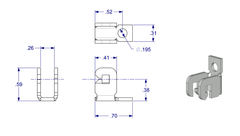 "02-6502 WRS 3/4"" Stamped Stainless Steel Balance Bracket Diagram"