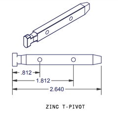 02-901 Diagram of WRS T Shaped Head Zinc Pivot Bar
