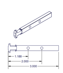 05-77-22 Diagram of WRS Die Cast T Shaped Pivot Bar - 2 Hole