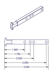 05-77-23 Diagram of WRS Die Cast T Shaped Pivot Bar - 4 Hole