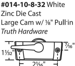 014-10-8-32 Truth Sweep Lock, Large Cam, White- No Lugs Diagram