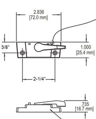 "014-10-401W Truth 2-1/4"" Sweep Lock With Nubs-White Diagram"