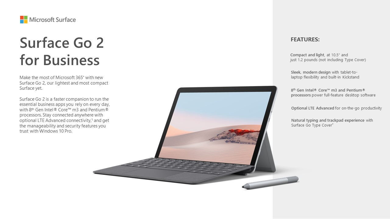 Surface Go 2 - Wi-Fi, Intel Core M3, 8GB, 128GB - ITontology
