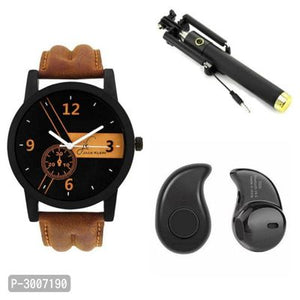 Combo of Men's Analog Watches with Mobile Accessories ( Analog Watch + Headphone + Selfie Stick )