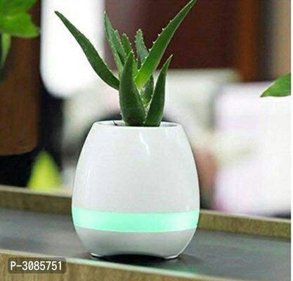 Plastic Musical Pot with Bluetooth Speakers, LED Lights and Touch Control Piano System (White)