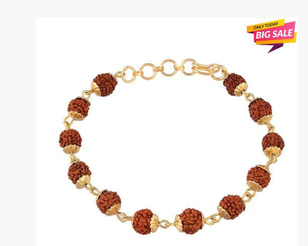 Gold Plated Rudraksha Bracelet for men's and women's