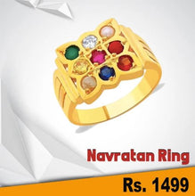Load image into Gallery viewer, Navratna Ring and Meru Ring Gold Plated Unisex