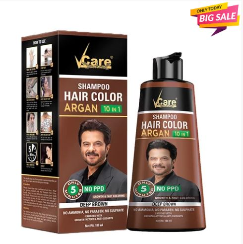 Vcare Shampoo Hair Color in Brown