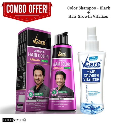Vcare Hair Color Shampoo Combo Pack (Hair Color Shampoo + Hair Growth Vitalizer) 180ML
