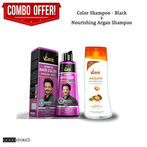 Vcare Hair Color Shampoo Combo (Color Shampoo + Nourishing Argan Shampoo) 180ML