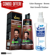 Load image into Gallery viewer, Vcare Hair Color Shampoo Combo Pack (Hair Color Shampoo + Hair Growth Vitalizer) 180ML