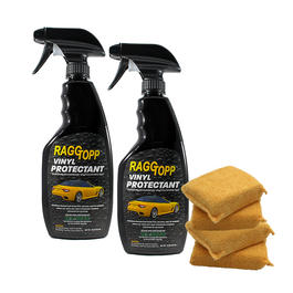 WINTER SPECIAL: RAGGTOPP Convertible Top Vinyl Protectant - 2 Pack with 4 Microfiber Applicator Pads