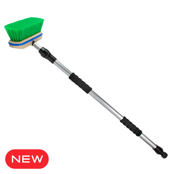 Premium Large Convertible, Soft Top and Tonneau Cover Cleaning Brush System with Premium Telescopic Pole