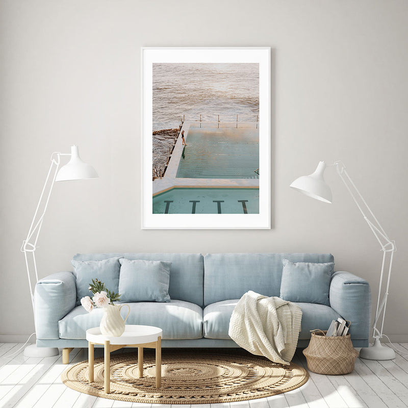 Sunrise Swim at Icebergs II Art Print