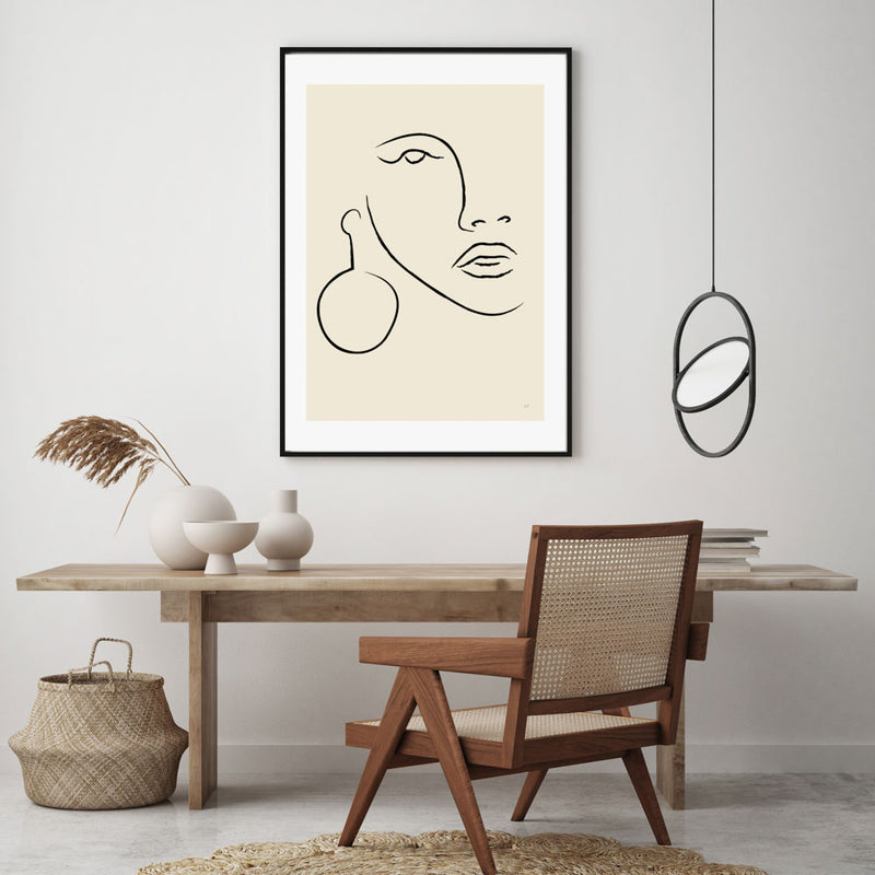 Abstract Earring Portrait Art Print