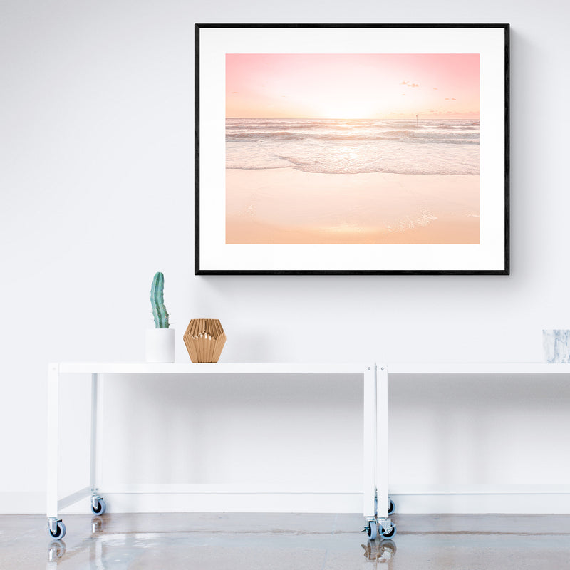 Waves and Sunset Over Golden Sand Art Print