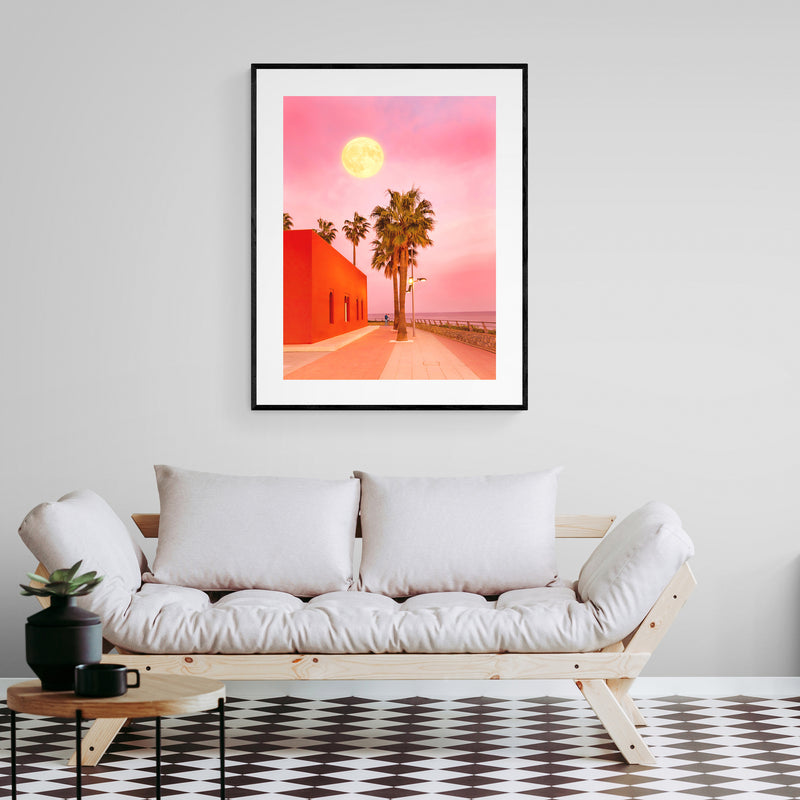 Super Moon at Sunset Art Print