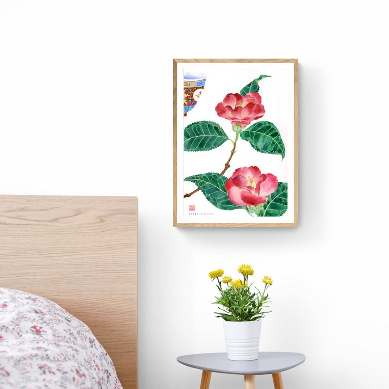 Camellias and Teacup Art Print