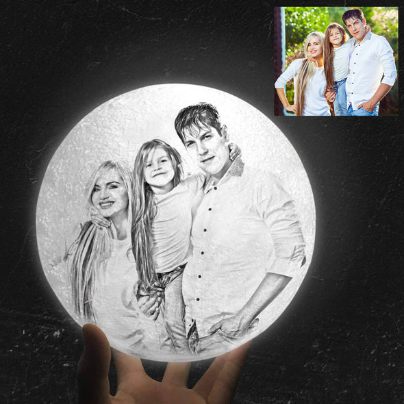 Custom Moon Lamp with Picture Custom 3D Photo Engraved Moon Light 2 Colors Best Gift Idea