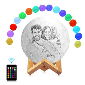 Custom Moon Lamp with Photo Custom 3D Engraved Moon Light 16 Colors Best Gift Idea