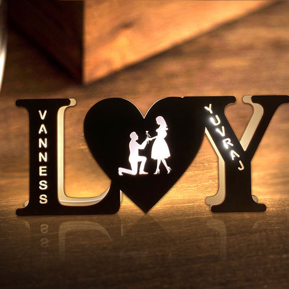 Custom Wall Light with Engraved Name Night Light Valentine's Day Gift