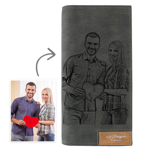 Women's Personalized Wallets|Engraved Photo Wallet Black Leather