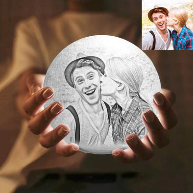 Christmas Gift Custom Moon Lamp with Photo Custom 3D Engraved Moon Light 16 Colors
