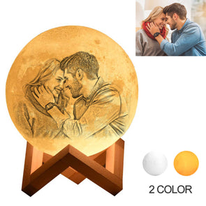 Christmas Gifts Custom Moon Lamp with Picture Custom 3D Photo Engraved Moon Light 2 Colors
