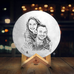 Personalized Moon Lamp with Photo Custom 3D Engraved Moon Light 2 Colors