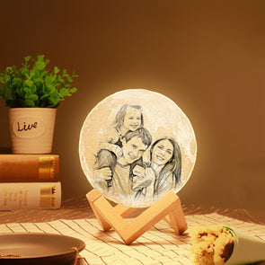 Mothers Day Gift Photo Moon Lamp Custom 3D Photo Engraved Moon Light 2 Colors