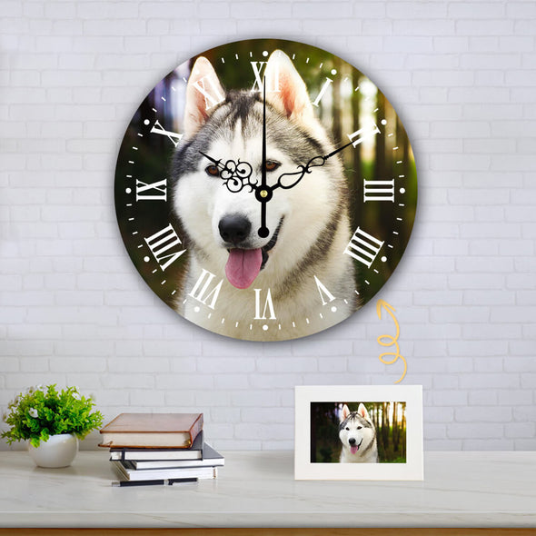 Personalized Photo Wall Clock Round Shape Silent Hanging Clock for Home Decor