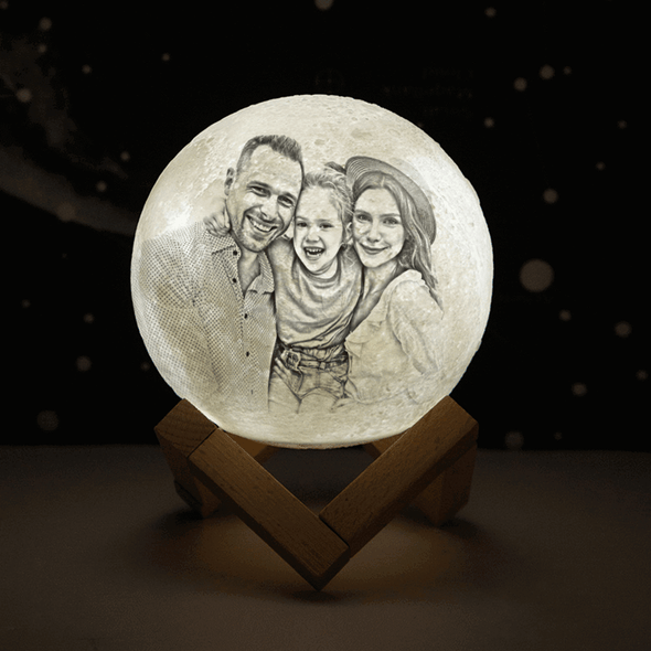 Custom Engraved 3D Picture Moon Lamp 2 Colors Valentine's Day Gift