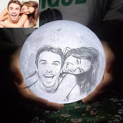 Custom Moon Lamp with Picture Custom 3D Photo Engraved Moon Light 2 Colors