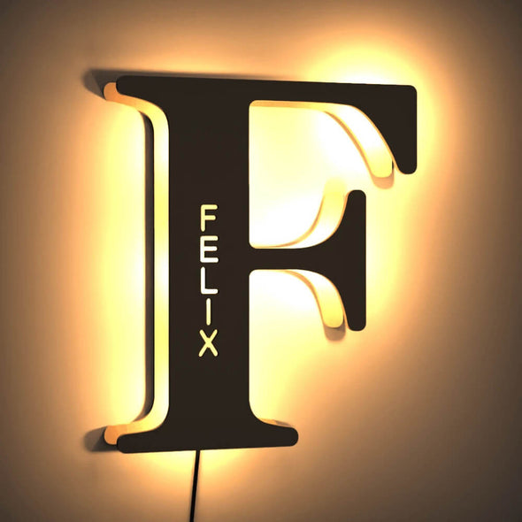 Custom Wooden Lamp with Engraved Name Wall Light Custom Night Light