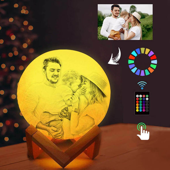 Personalized Moon Lamp Custom 3D Photo Engraved Moon Light With Picture 16 Colors