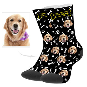 Custom Dog Picture Socks with Name