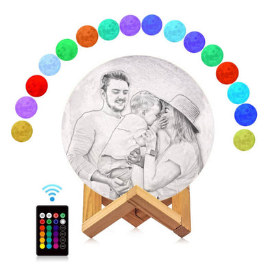 Custom Moon Lamp Custom 3D Photo Engraved Moon Light 16 Colors